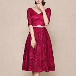 LYRA - 中袖V領蕾絲中長禮服裙