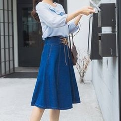 AiLiTi - Lace-Up Denim A-Line Midi Skirt