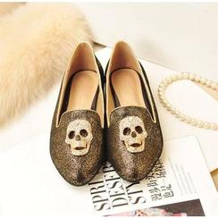 Kireina - 水鑽骷髏頭平跟鞋