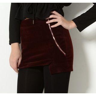 YesStyle Z - Zip-Accent Asymmetric Hem Miniskirt