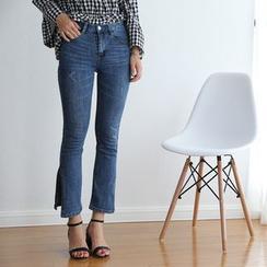 TAILO - Washed Slit-Hem Cropped Jeans