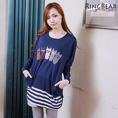 RingBear - Cat Applique Long-Sleeve Tunic