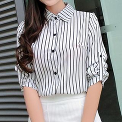 Neeya - Long-Sleeve Pinstriped Blouse