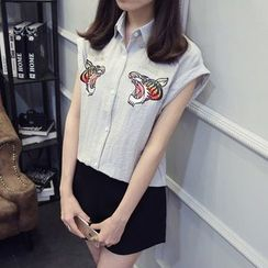 Hello MISS - Tiger Embroidered Short Sleeve Shirt