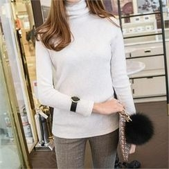 PIPPIN - Turtle-Neck Ribbed Slim-Fit Top