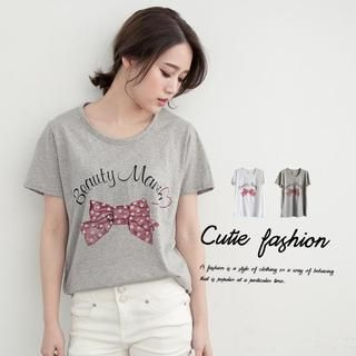 CUTIE FASHION - Short-Sleeve Bow-Print T-Shirt