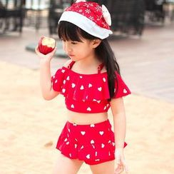 Little Dolphin - Kids Heart Print Swimsuit