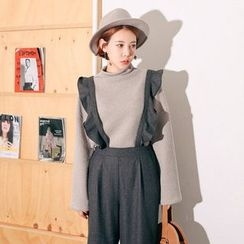 Seoul Fashion - Wide-Leg Wool Blend Jumper Pants