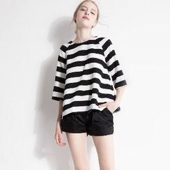 Halona - Set: Striped Top + Shorts