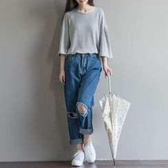 Snow Flower - Ripped Straight-Cut Jeans