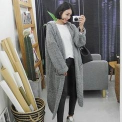 Seoul Fashion - Hooded Open-Front Long Cardigan