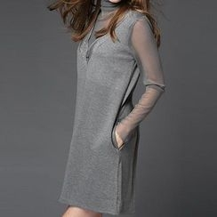 Mythmax - Turtleneck Long-Sleeve Dress