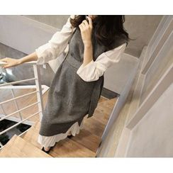 MARSHMALLOW - Maternity Turtle-Neck Sleeveless Long Knit Top with Sash