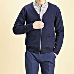 THE COVER - V-Neck Zip-Up Cardigan