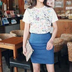 Stylementor - Short-Sleeve Paint-Splattered T-Shirt