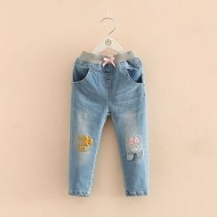 Seashells Kids - Kids Bear Applique Jeans