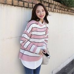 QNIGIRLS - Round-Neck Color-Block Knit Top