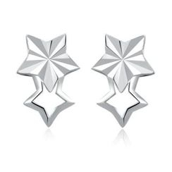 MaBelle - 14K White Gold Dainty Double Stars with Diamond-Cut Earrings (5MM)