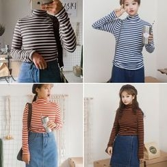 Tiny Times - Striped Turtleneck Long-Sleeve T-Shirt