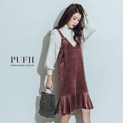PUFII - Ruffle Hem Velvet  Dress