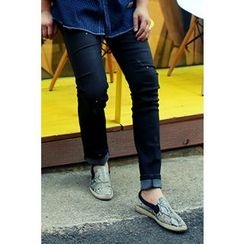 Ohkkage - Straight-Cut Washed Jeans