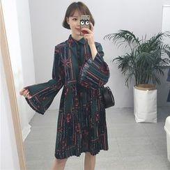 Tiny Times - 印花喇叭袖衬衫连衣裙