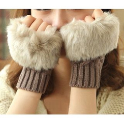 Damasco - Faux Fur Ribbed Fingerless Gloves