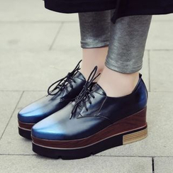 JY Shoes - Lace-Up Genuine Leather Platform Shoes