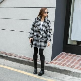 PIPPIN - Plaid Double-Breasted Coat
