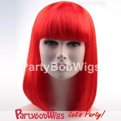 Party Wigs - PartyBobWigs - Party Medium Bob Wig - Neon Red