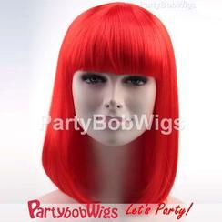 Party Wigs - PartyBobWigs - 派对BOB款中长假发 - 萤光红色