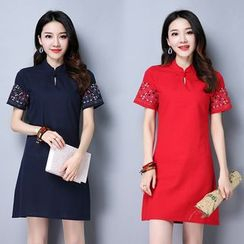 Epoch - Short-Sleeve Embroidered A-Line Dress