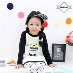 nanakids - Kids Raglan-Sleeve Cat Print T-Shirt