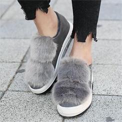 CHICFOX - Platform Faux-Fur Slip-Ons