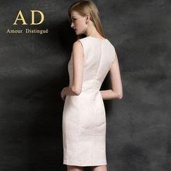 Aision - Sleeveless Jacquard Sheath Dress