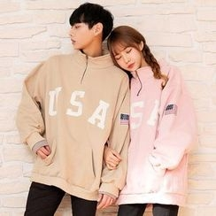 TOMONARI - Couple Zipped Mock-Neck Lettering Pullover
