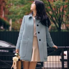 Mariposa - 純色長款呢子大衣