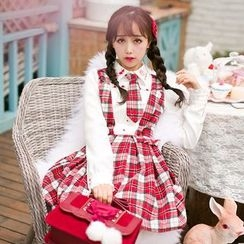 Candy Rain - Long-Sleeve Plaid Mock Two Piece Dress