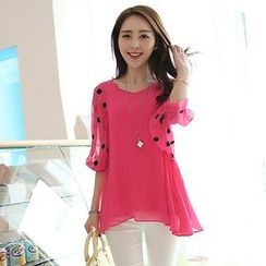 YIJINGMEI - Elbow-Sleeve Chiffon Blouse