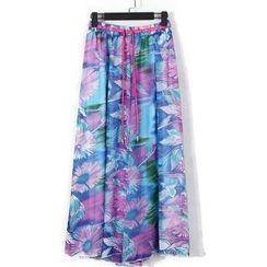 Flower Idea - Elastic-Waist Patterned Maxi Skirt