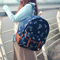 SUPER LOVER - Faux-Leather-Trim Anchor-Print Backpack
