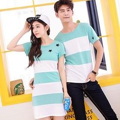 Tabula Rasa - Couple Matching Colour Block Short-Sleeve T-shirt / T-shirt Dress