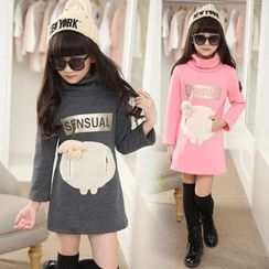 Pegasus - Kids Sheep Fleece-lined Turtleneck Long-Sleeve Dress
