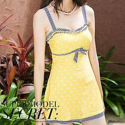 Zeta Swimwear - Striped Trim Dotted Swimdress