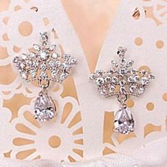 Nanazi Jewelry - Rhinestone Tiara Drop Earrings