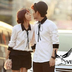 NA.D - Contrast-Collar Couple Shirt