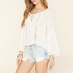 Richcoco - Perforated Bell-Sleeve Chiffon Blouse