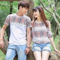 Igsoo - Couple Matching Patterned Short-Sleeve T-shirt / Cutout Shoulder Top