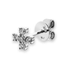 MBLife.com - 18K White Gold Diamond Accents Tiny Religious Cross Single Stud Earring (0.15cttw), Women Jewelry Gift