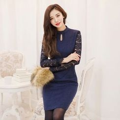 Eleganza - Laced Long Sleeve Sheath Dress